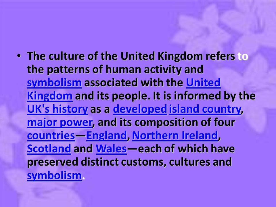 British culture ppt video online download the culture of the united kingdom refers to the patterns of human activity and symbolism associated sciox Images