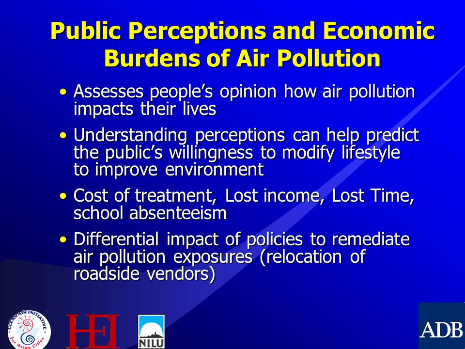 public opinion on air pollution The government launched its new air pollution public information system in november 1997 pollution levels are described using four bandings: low,.