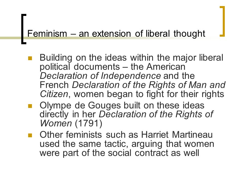 Feminism – an extension of liberal thought