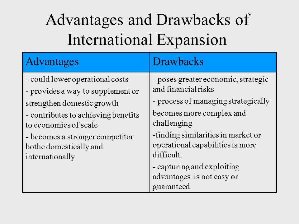 global expansion of a domestic company International expansion | key factors your focus should initially be on strengthening your position in your domestic target market in order to ensure that your international business runs with the same smooth efficiency that makes it successful locally.