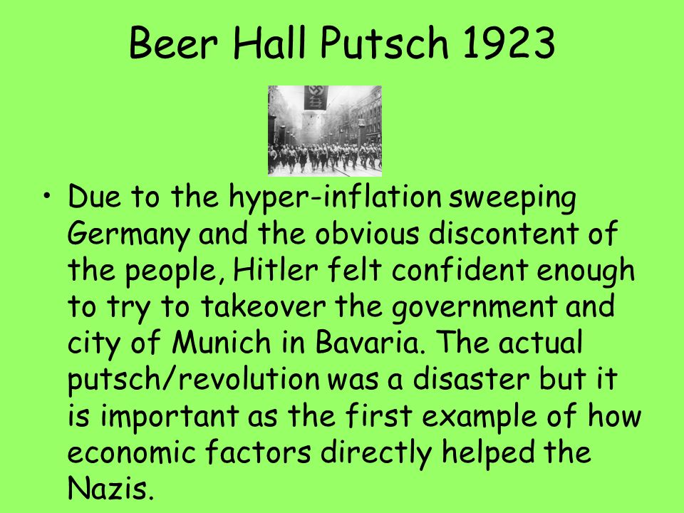 an analysis of hitlers munich putsch and its outcomes The munich agreement was concluded on sept 30,  gathering in munich on sept 29,  and its terms were similar to hitler's latest ultimatum.