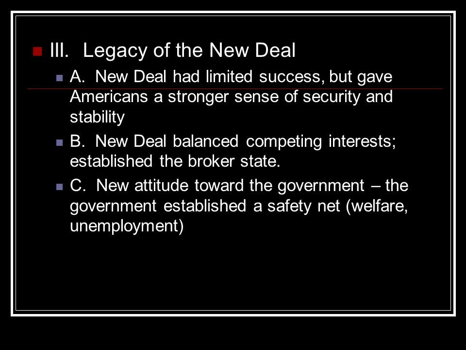 Legacy of the New Deal