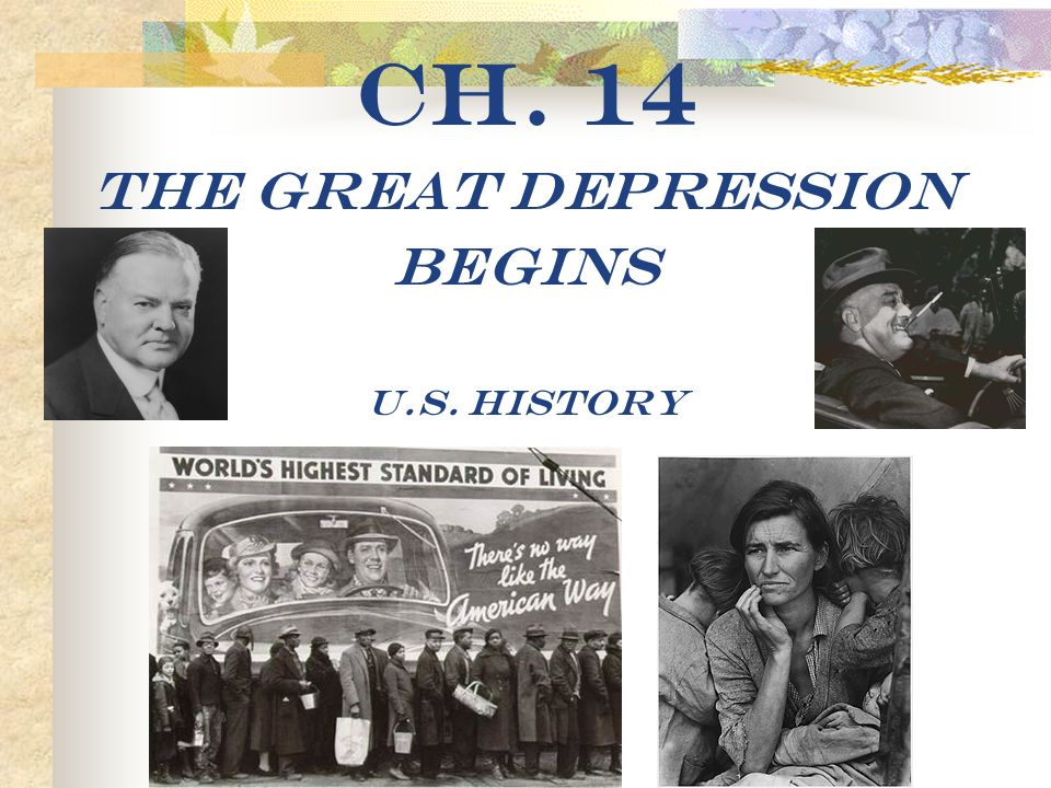 Ch. 14 The Great Depression Begins U.S. History. - ppt download