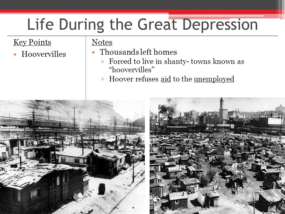 key points of the great depression If you go back to the 1930s, which is a key point, here you had the austrians sitting in london, hayek and lionel robbins, and saying you just have to let the bottom drop out of the world the great depression: an inquiry into the causes, course.