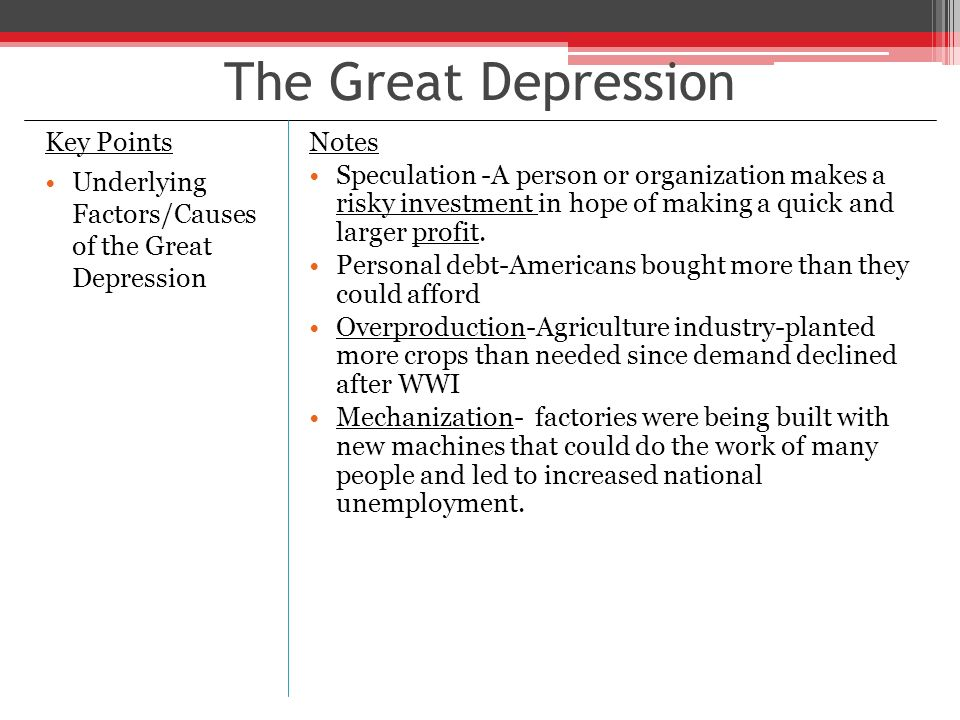the factors that bring about the great depression in america The great depression was  there are many contributing factors but not one specific event  8) watleins, th the great depression, america in the 30's.