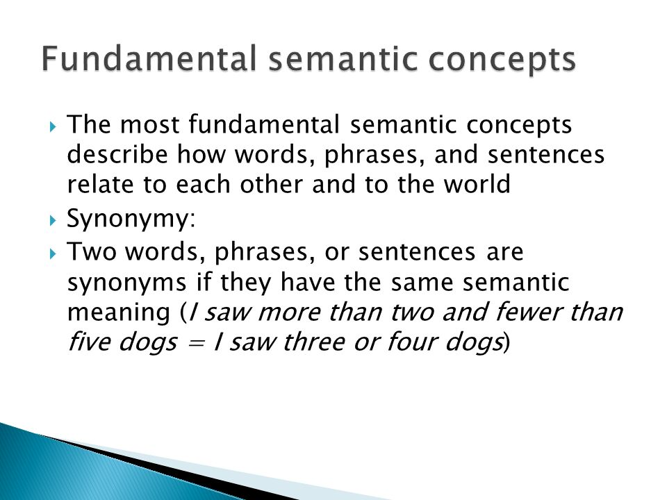 Fundamental semantic concepts