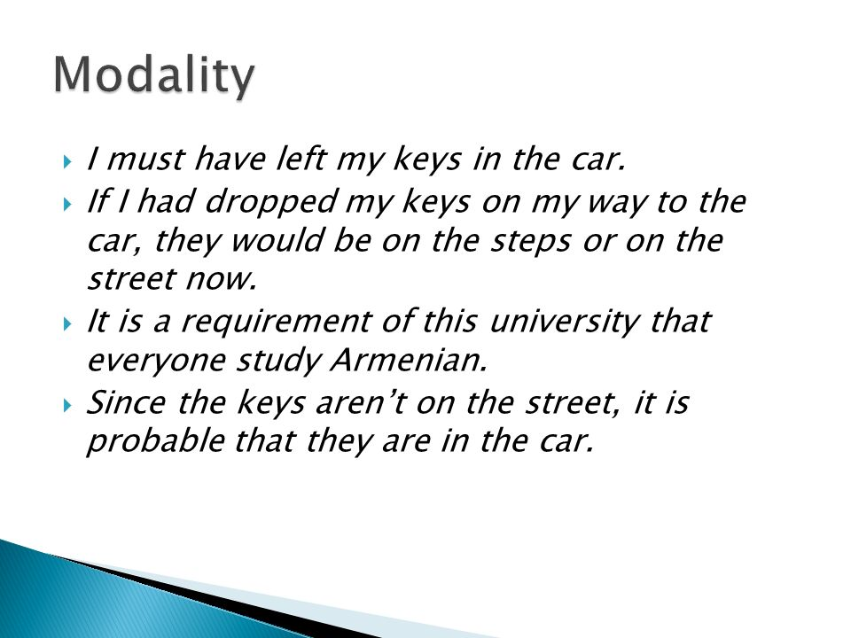 Modality I must have left my keys in the car.