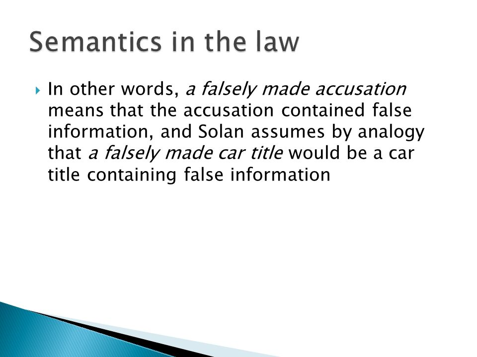 Semantics in the law