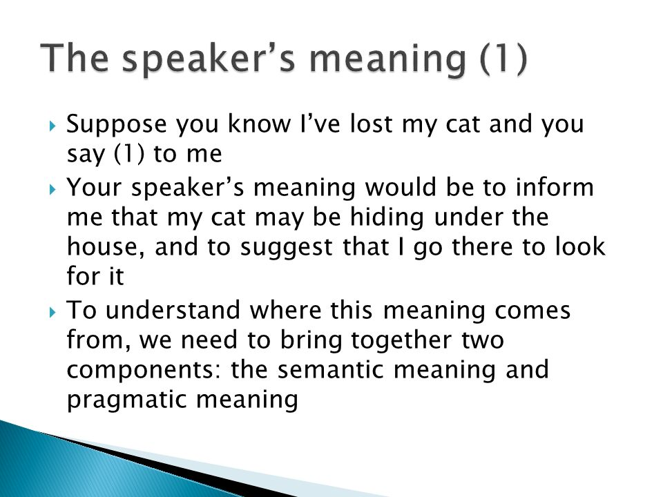 The speaker's meaning (1)