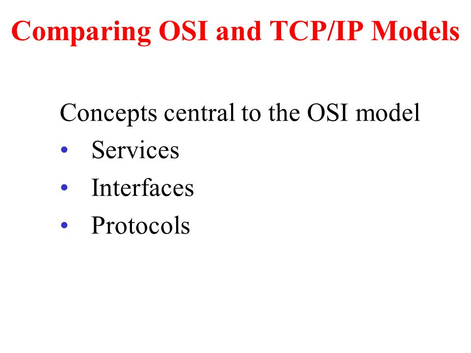 analysis of osi and tcp ip model The osi model has seven layers, each of which has a different level of   distributed applications services, whether osi or tcp/ip based, have some  common  and transmits a stream of bits without any regard to the meaning of  the structure,.