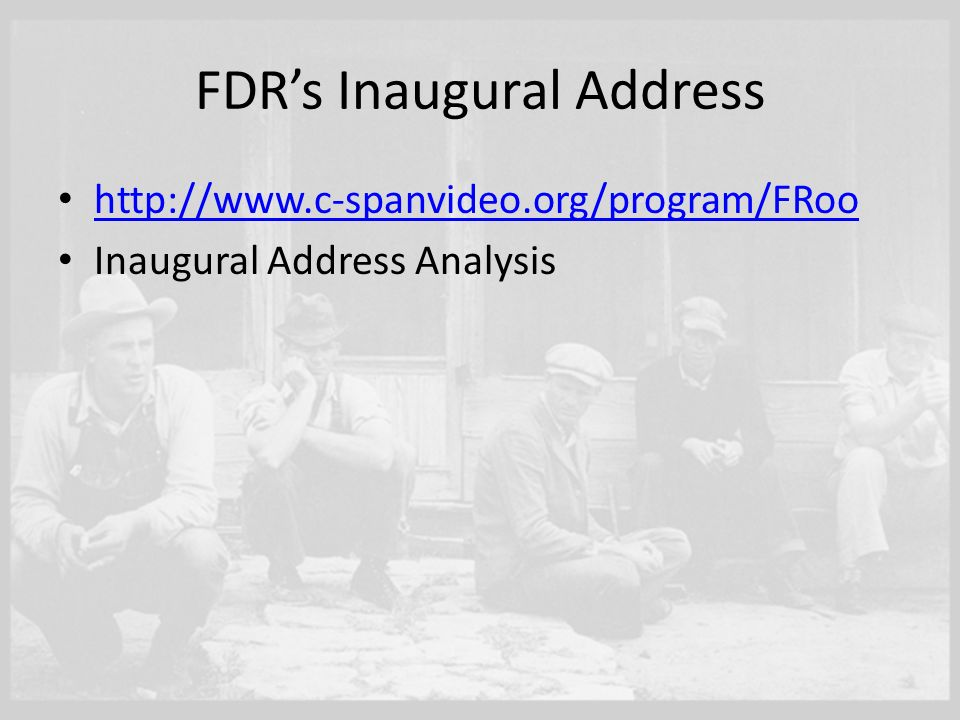 analysis of fdrs address to the Rhetorical devices in fdr's inaugural address historical background in 1933, franklin delano roosevelt won the election for 32nd president of the united states on .