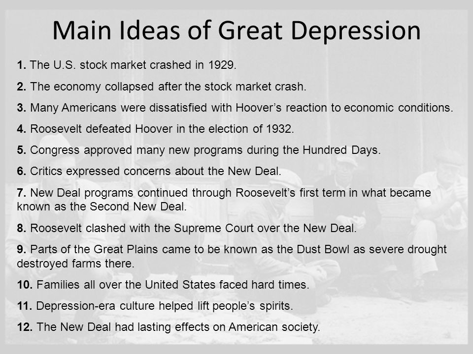 "an overview of the new deal in the united states after the great depression 5 the ""new poverty"" began with the famous stock market crash of 1929 and the onset of the great depression this is when many middle and upper-income families first experienced poverty in america these were hard-working people who fully shared the values and ideals of the american dream, people."