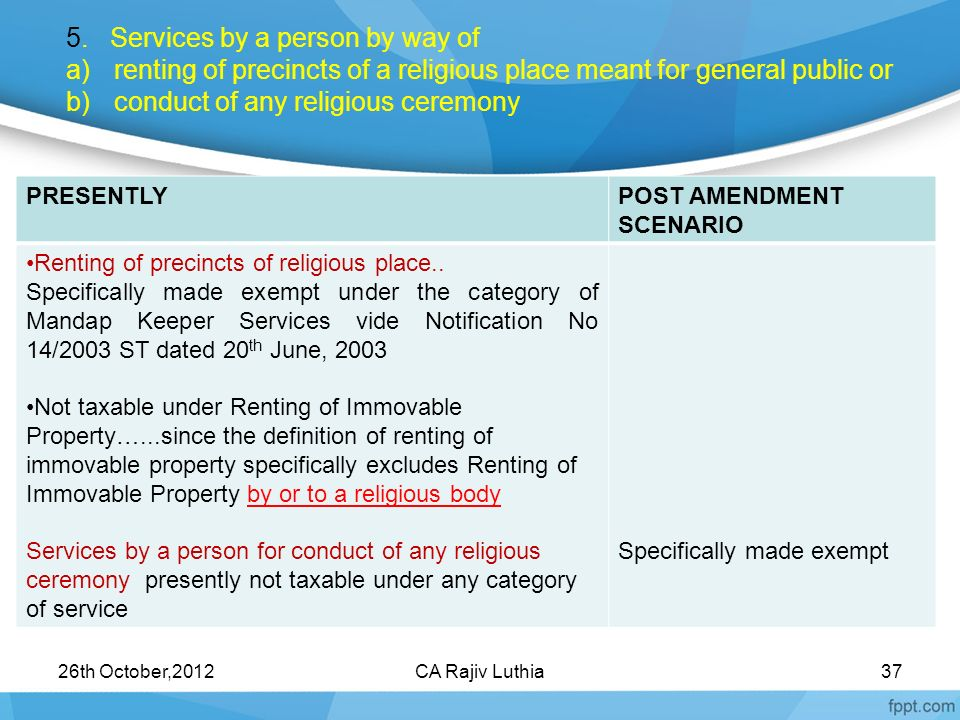 5. Services by a person by way of