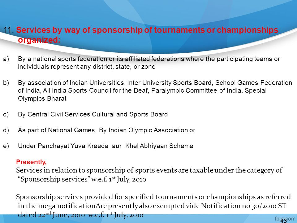 11. Services by way of sponsorship of tournaments or championships organized: