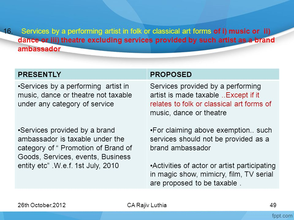 16. Services by a performing artist in folk or classical art forms of i) music or ii) dance or iii) theatre excluding services provided by such artist as a brand ambassador