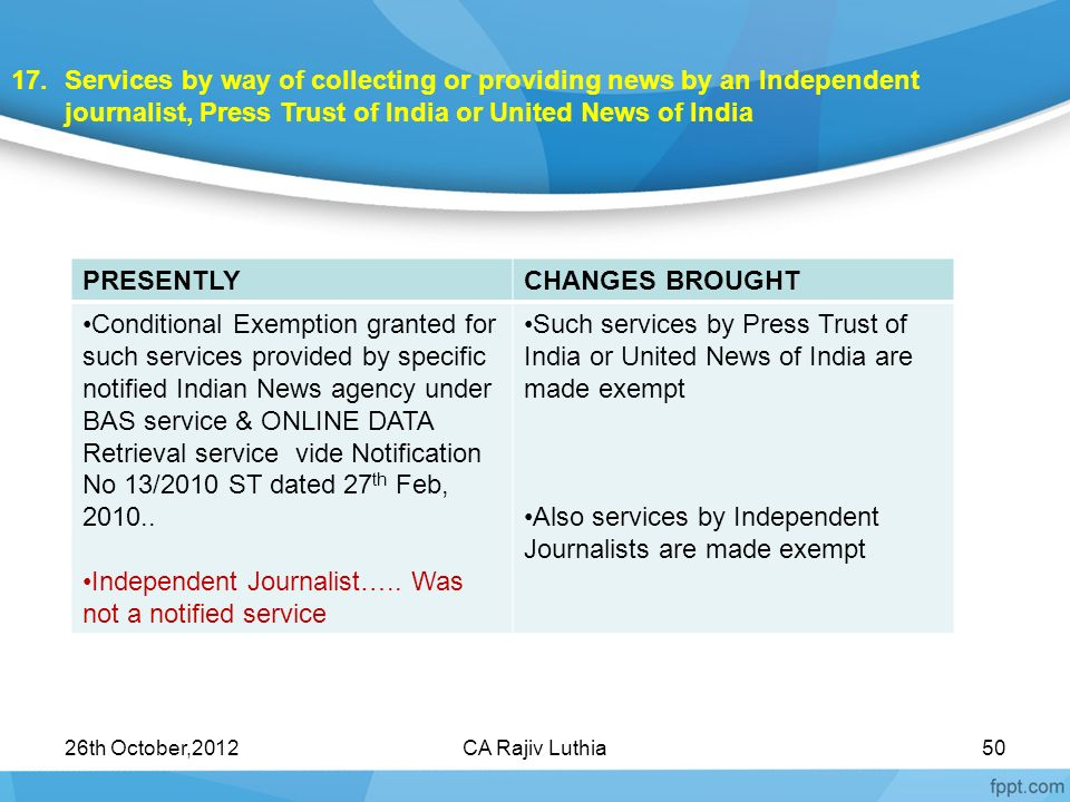 Independent Journalist….. Was not a notified service