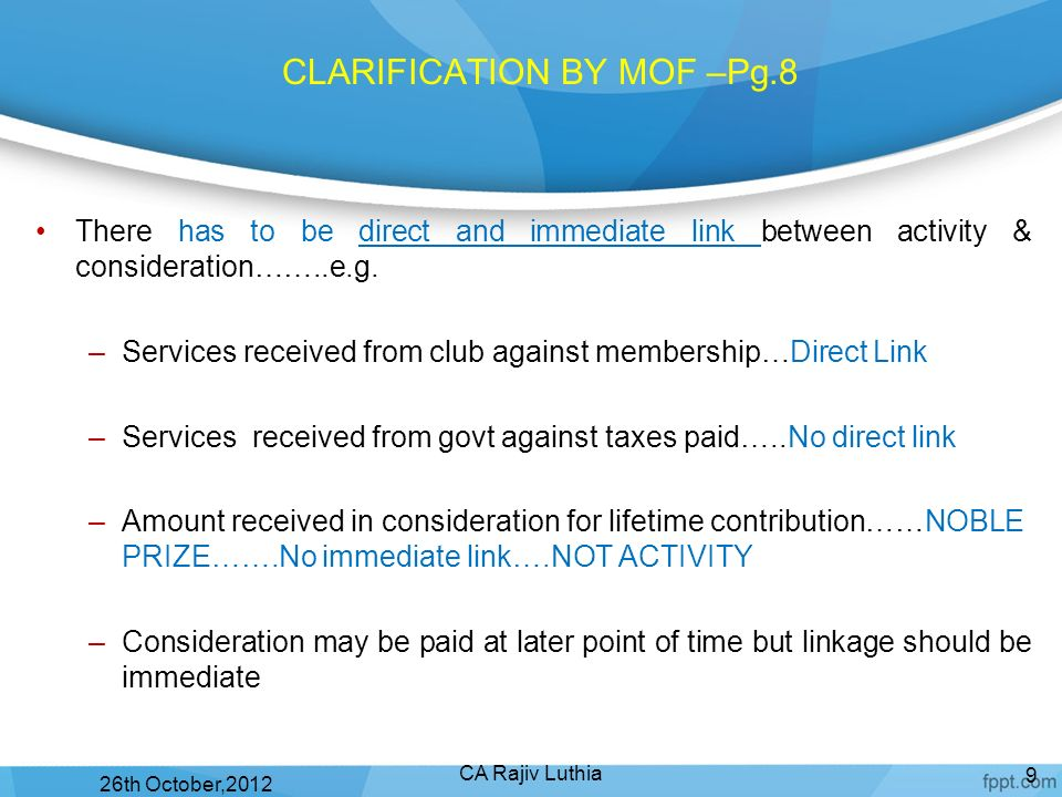 CLARIFICATION BY MOF –Pg.8