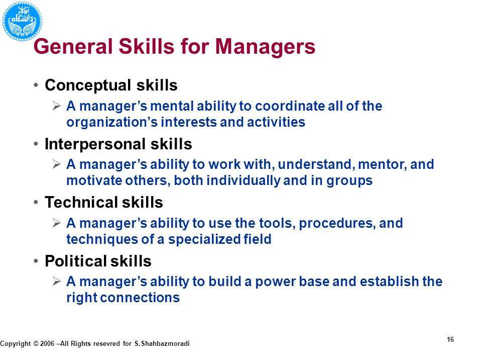 the conceptual skills required for a manager What is conceptual skill whether conceptual skill help develop and promote team spirit conceptual skills required for decision making at the top level of conceptual skills allow a manager to visualize the entire organization and work with ideas and the relationships between abstract.