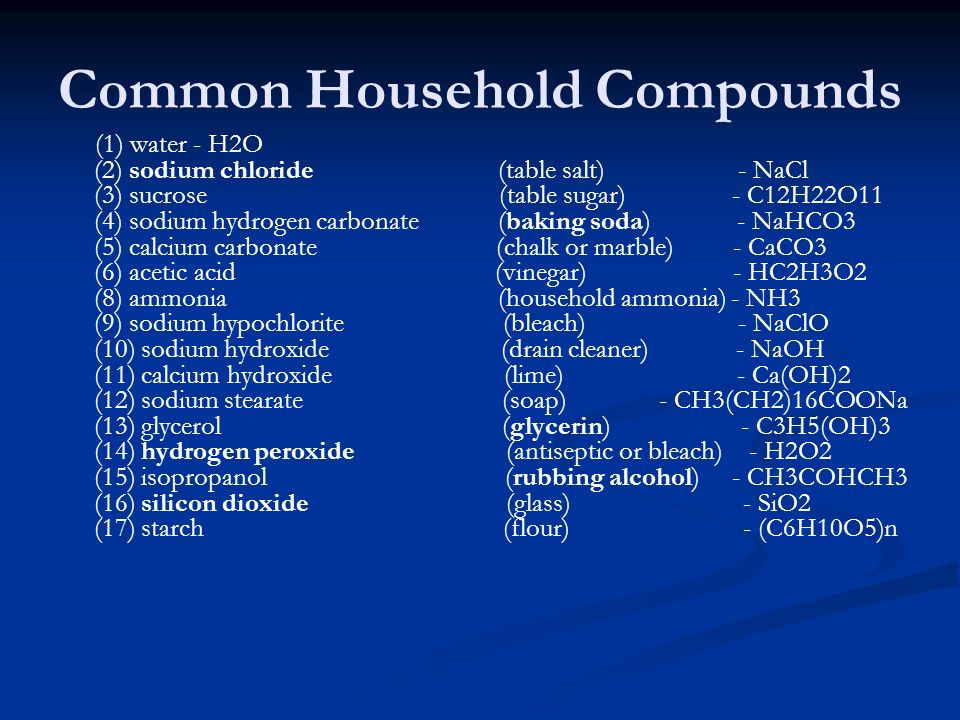 Chemical And Physical Properties Of Common Household Items