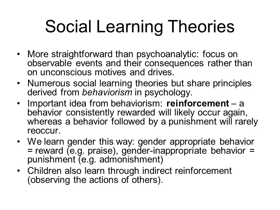 an analysis of the social learning theory in gender behavior Evaluate social learning theory this study shows how the social learning theory can explain behavior learnt from of social cultural level of analysis and.