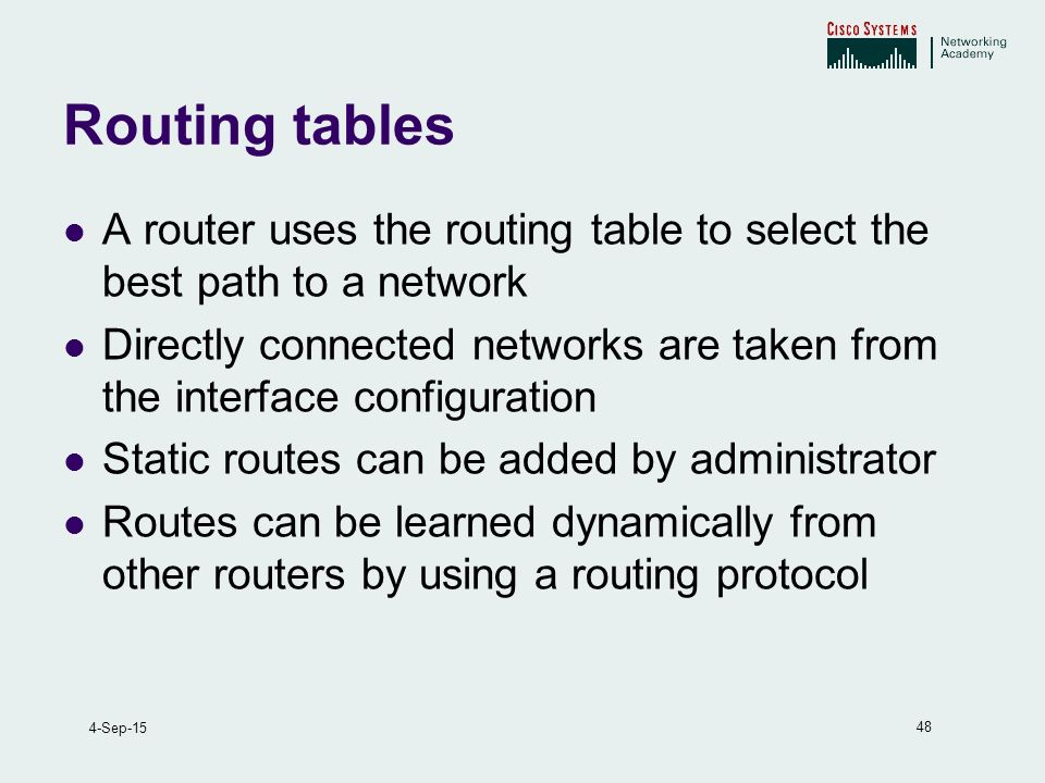 Routing ccna exploration semester 2 chapter 1 ppt video online 48 routing tables a router greentooth Gallery