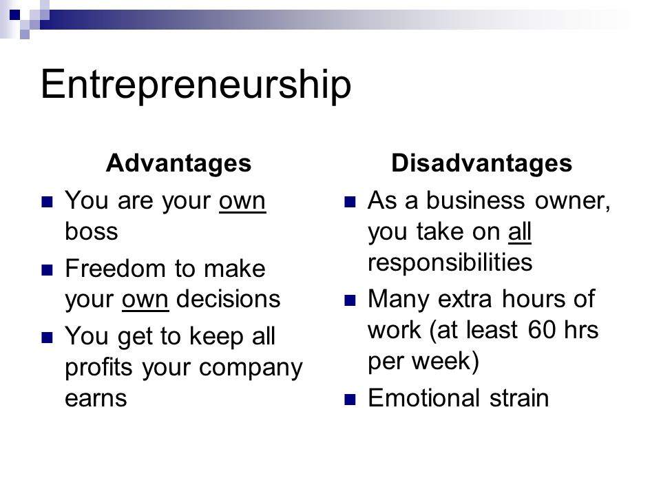 the advantages and disadvantages of being an entrepreneur Partnerships in business can make or break a company some entrepreneurial  partners, such as steve jobs and steve wozniak, have seen.