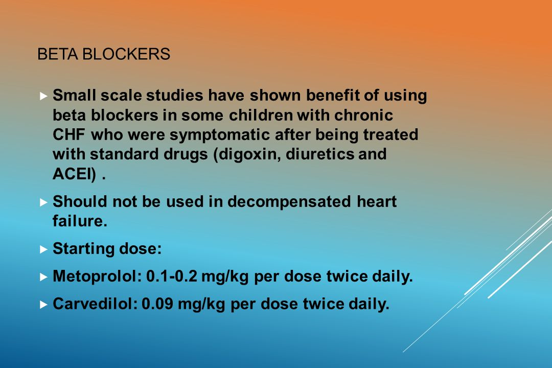 beta blocker in case of heart failure essay Introduction : beta-blockers, also known as beta antagonists, beta-adrenergic blocking agents, or beta-adrenergic antagonists, are drugs that are prescribed to treat several different types of conditions, including hypertension (high blood pressure), angina, some abnormal heart rhythms, heart attack (myocardial infarction), anxiety, migraine.