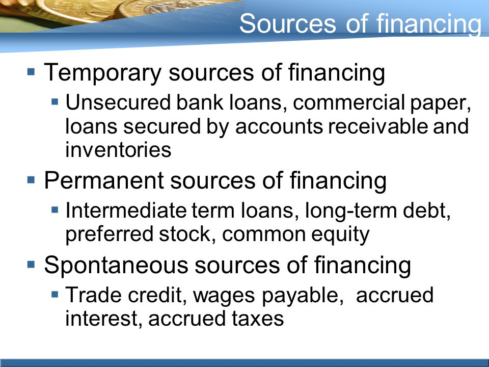 sources of finance essay