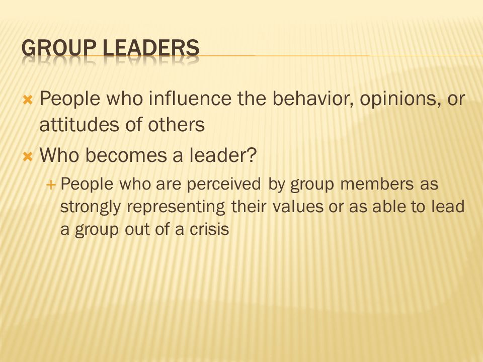 Group Leaders People who influence the behavior, opinions, or attitudes of others. Who becomes a leader
