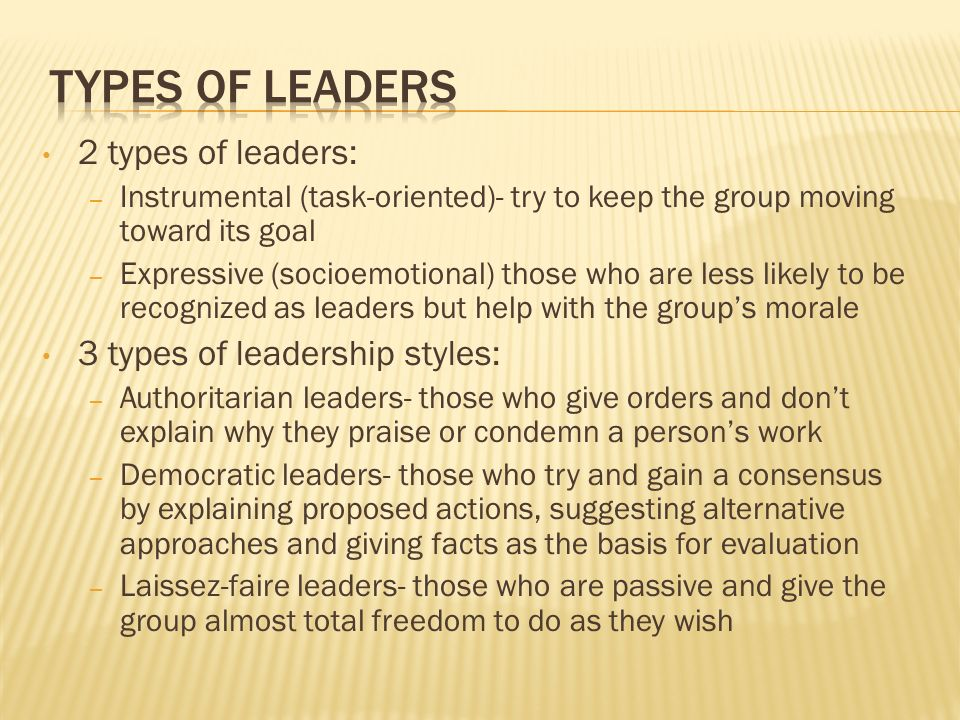 Types of leaders 2 types of leaders: 3 types of leadership styles: