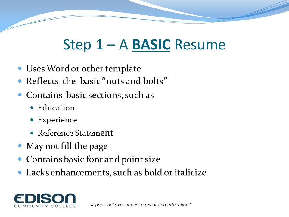building a high impact resume ppt download