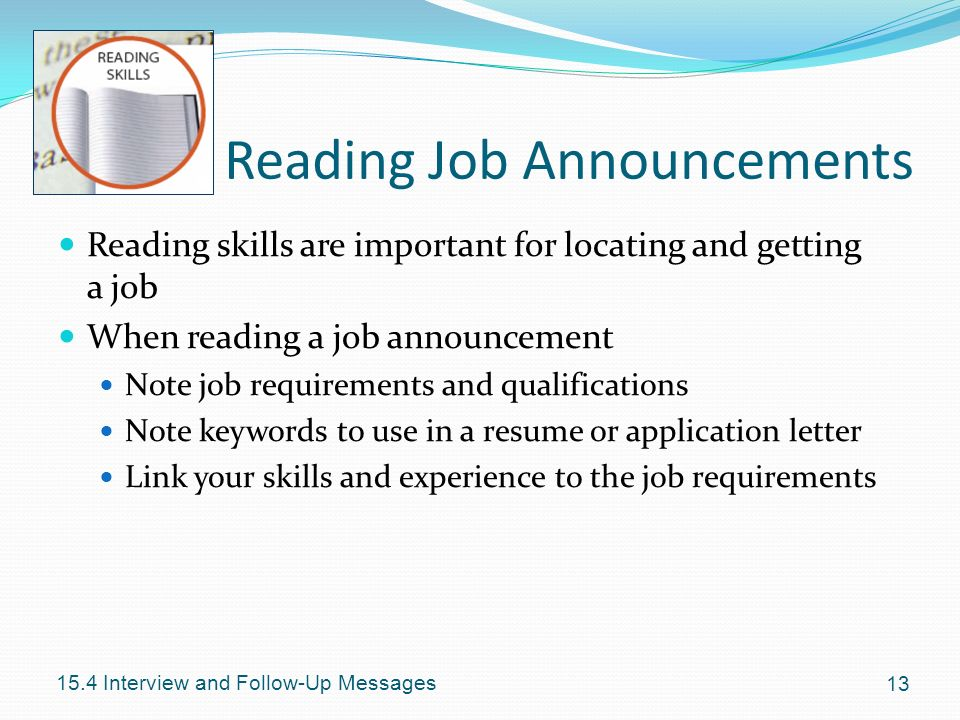 Reading Job Announcements