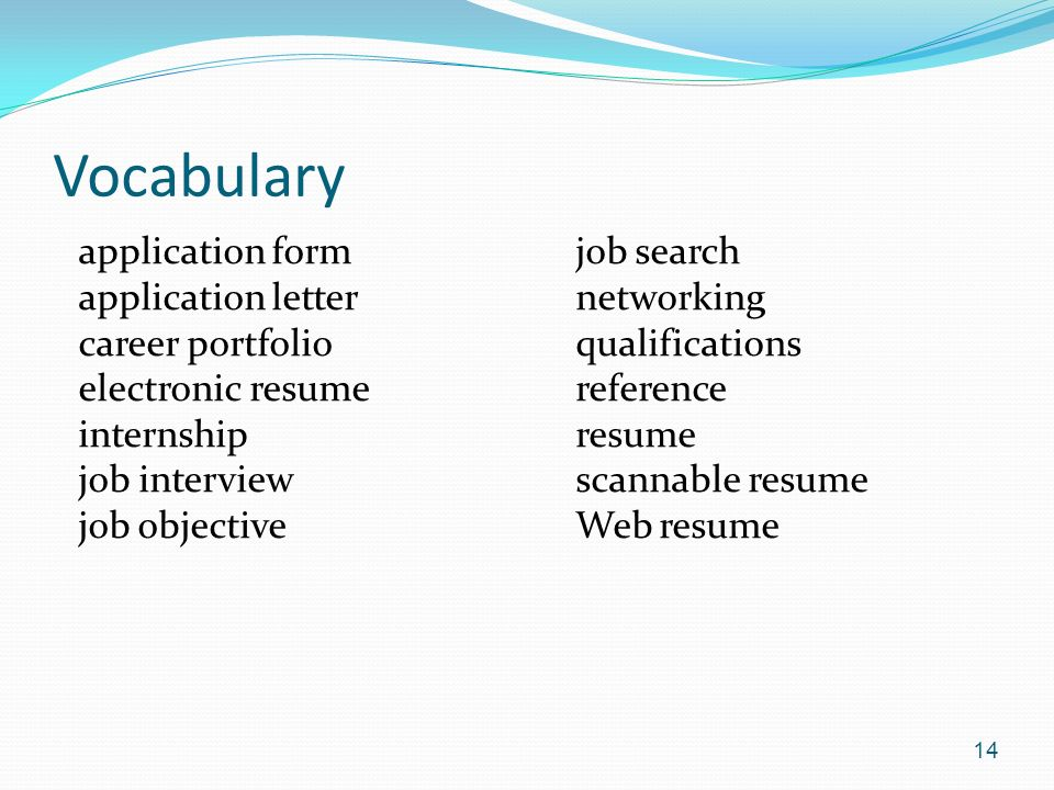 Vocabulary application form application letter career portfolio