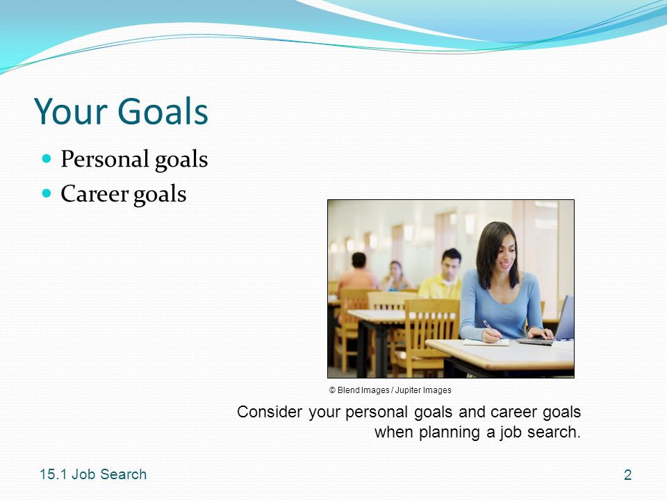 Your Goals Personal goals Career goals