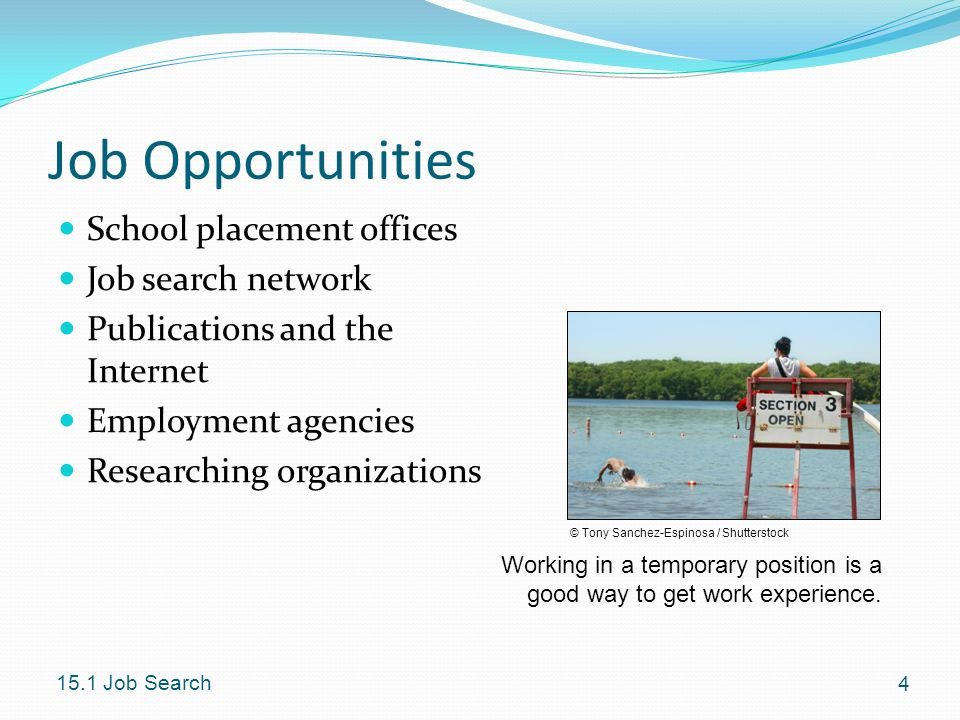 Job Opportunities School placement offices Job search network