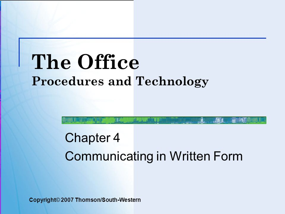 The Office Procedures and Technology