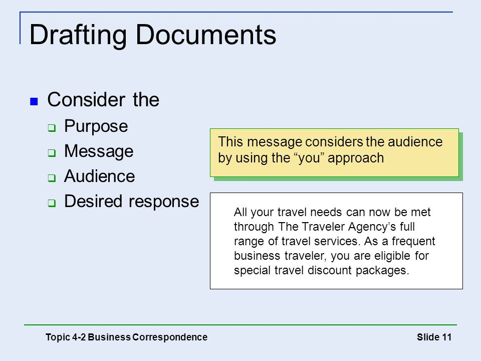 Drafting Documents Consider the Purpose Message Audience