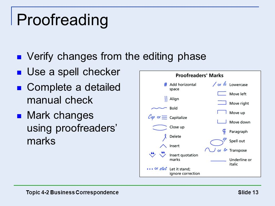 Proofreading Verify changes from the editing phase Use a spell checker