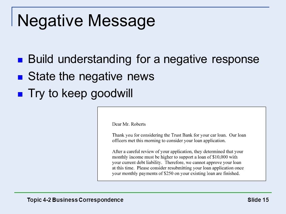 Negative Message Build understanding for a negative response