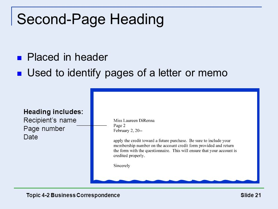 Second-Page Heading Placed in header