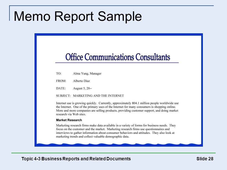 Memo Report Sample Topic 4-3 Business Reports and Related Documents