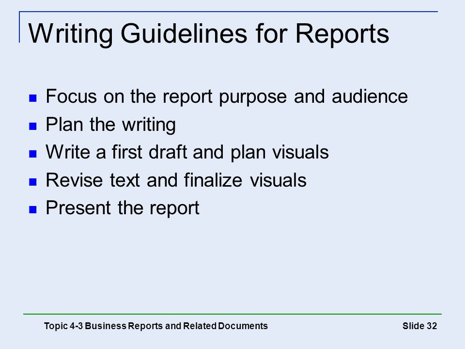 Writing Guidelines for Reports