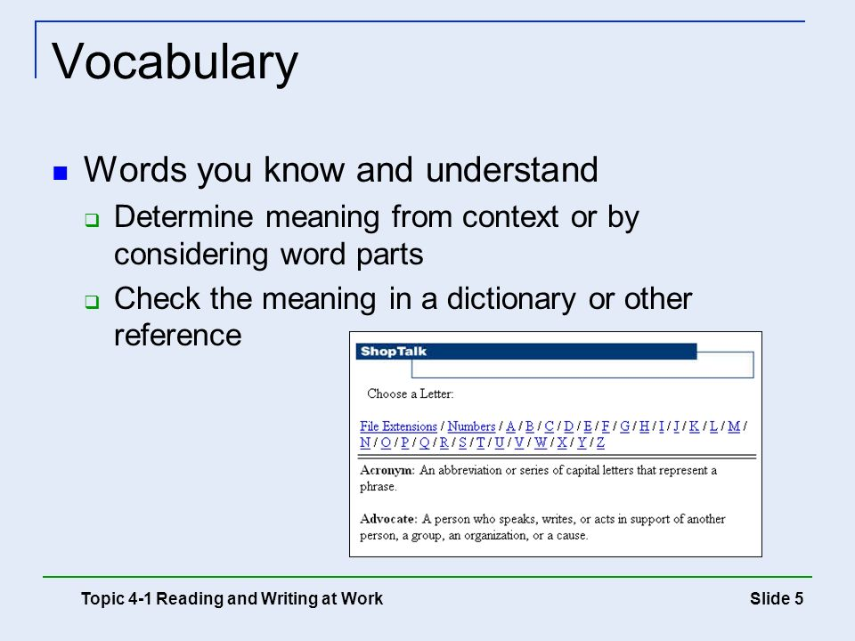 Vocabulary Words you know and understand