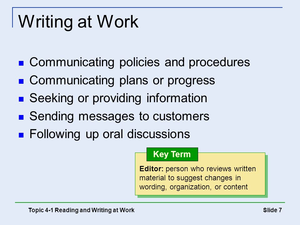 Writing at Work Communicating policies and procedures