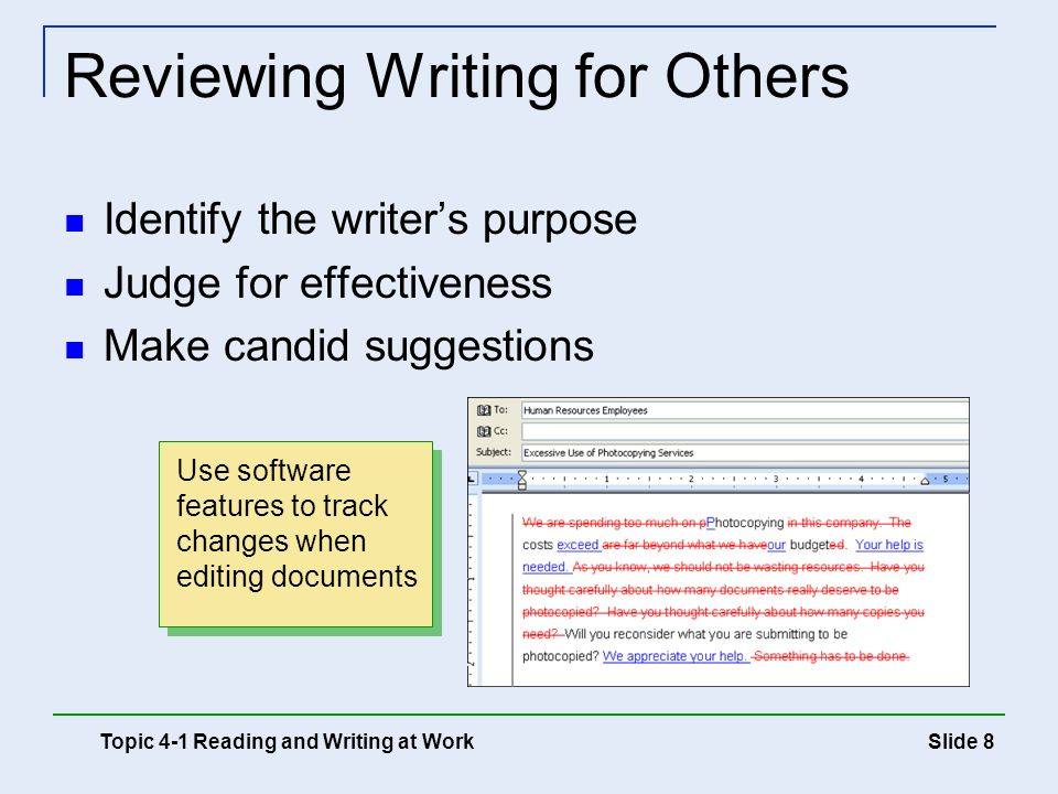 Reviewing Writing for Others