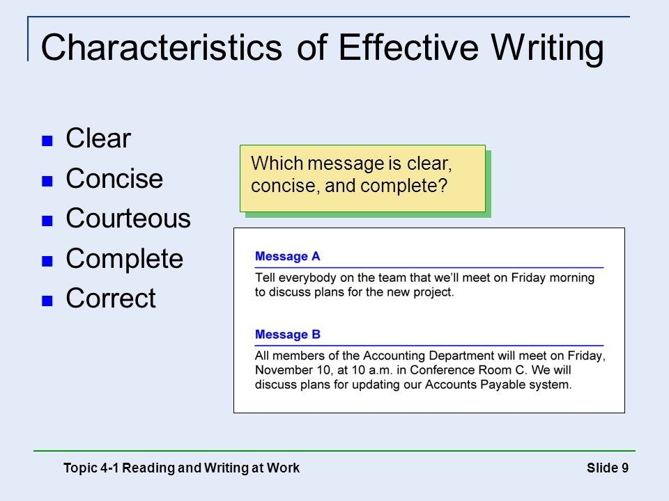 Characteristics of Effective Writing