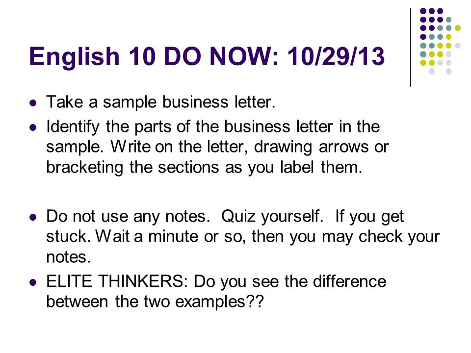 English 10 DO NOW 29 13 Take A Sample Business Letter