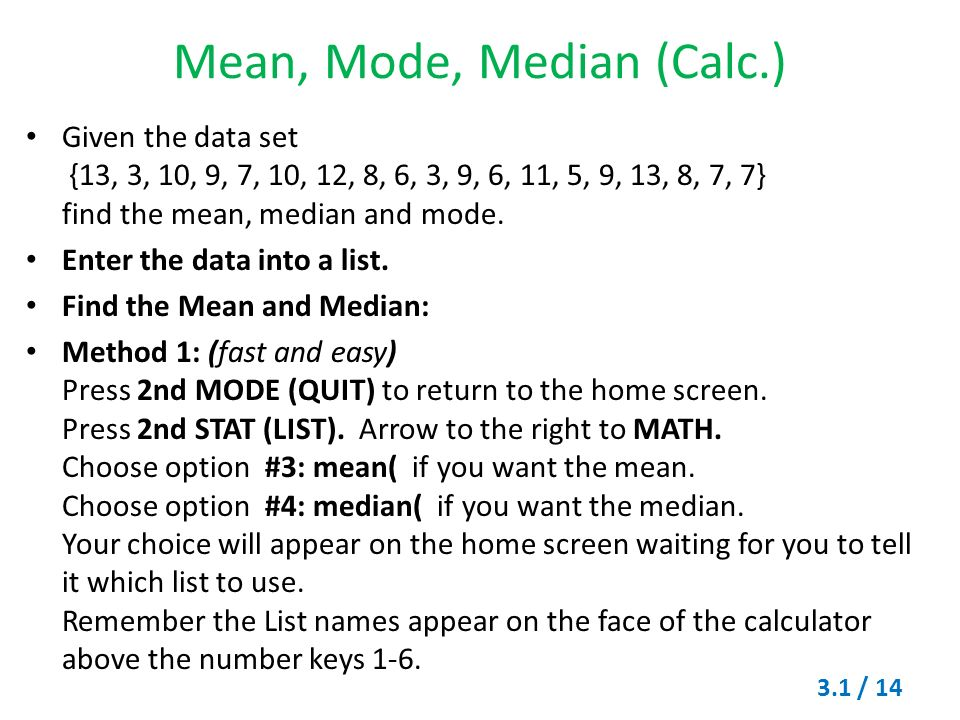 Measures of central tendency mode median and mean ppt video mean mode median calc ccuart Gallery