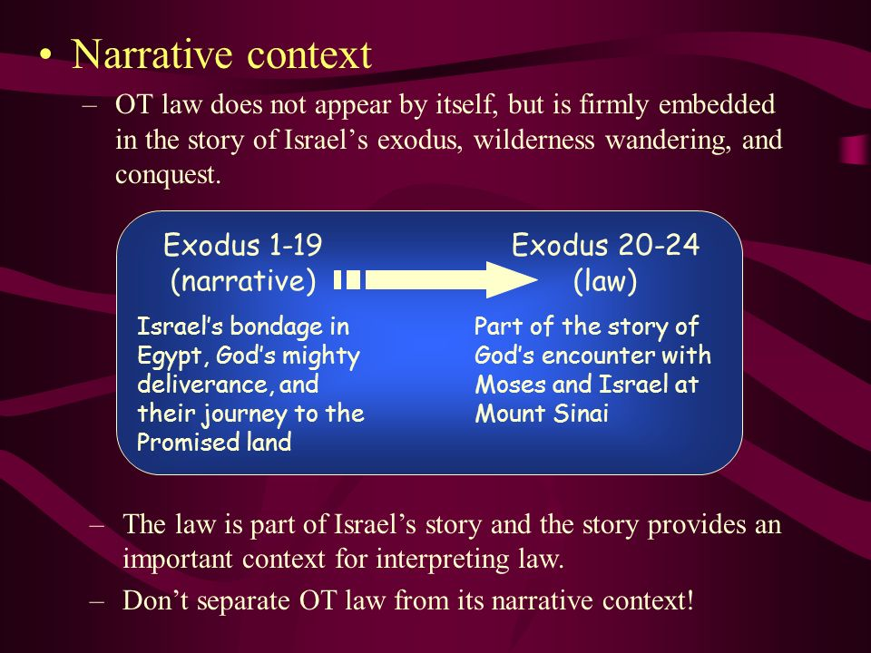 Narrative context OT law does not appear by itself, but is firmly embedded in the story of Israel's exodus, wilderness wandering, and conquest.