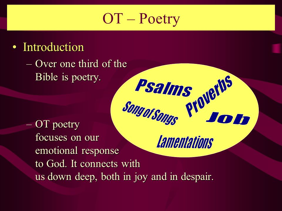 OT – Poetry Introduction Over one third of the Bible is poetry.